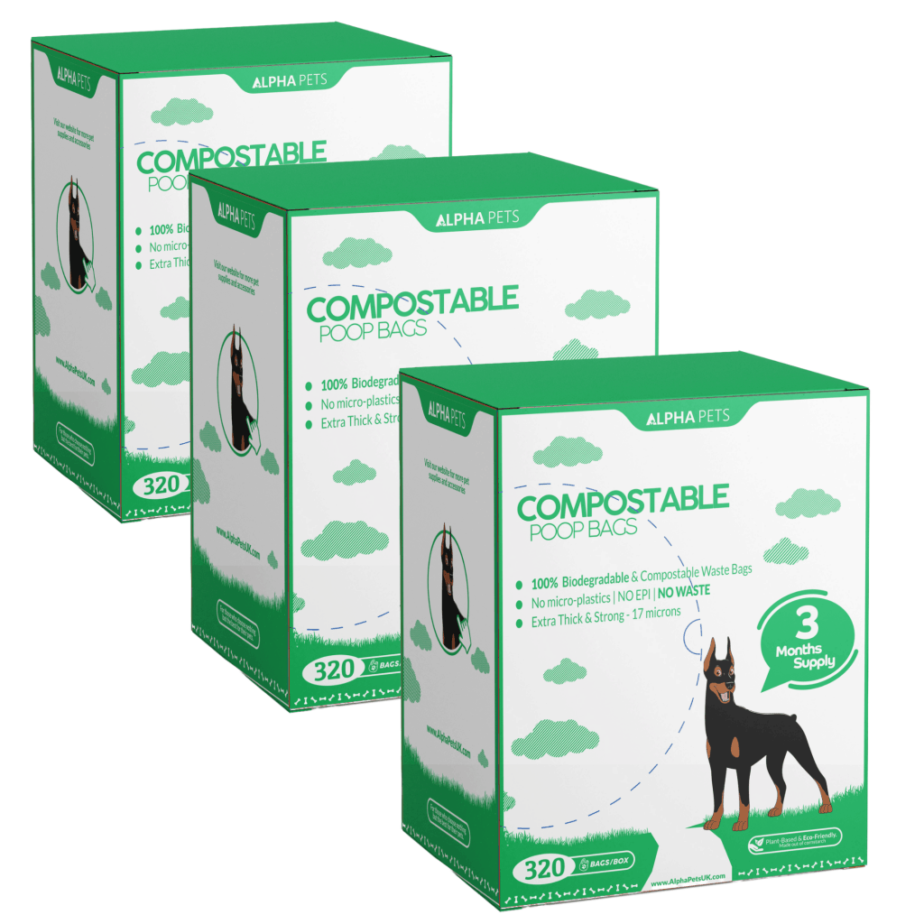 Alpha Pets Compostable Dog Poo Bags With Easy-Tie Handles – Bulk Buy Large Biodegradable Cornstarch Pet Waste Bags