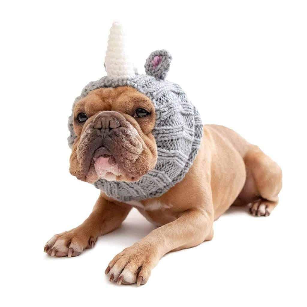 Knitted Rhino Dog Snood Costume